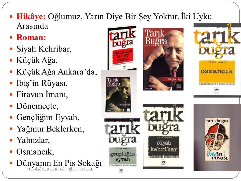 Hikâye: Oğlumuz, Yarın Diye Bir Şey Yoktur, İki Uyku Arasında Roman: Siyah Kehribar, Küçük Ağa, Küçük Ağa Ankara'da, İbiş'in Rüyası, Firavun İmanı, Dö