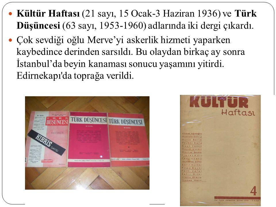Kültür Haftası (21 sayı, 15 Ocak-3 Haziran 1936) ve Türk Düşüncesi (63 sayı, 1953-1960) adlarında iki dergi çıkardı. Çok sevdiği oğlu Merve'yi askerli