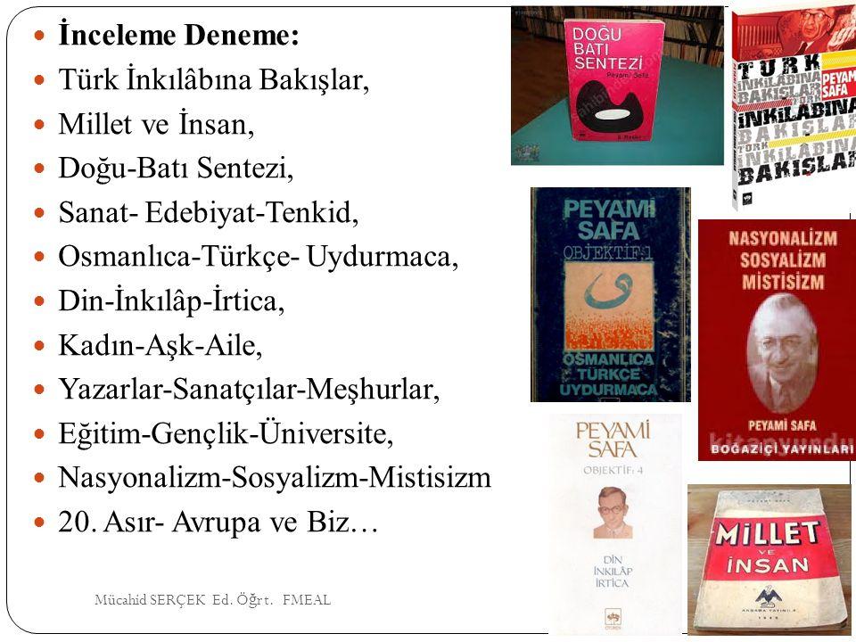 İnceleme Deneme: Türk İnkılâbına Bakışlar, Millet ve İnsan, Doğu-Batı Sentezi, Sanat- Edebiyat-Tenkid, Osmanlıca-Türkçe- Uydurmaca, Din-İnkılâp-İrtica
