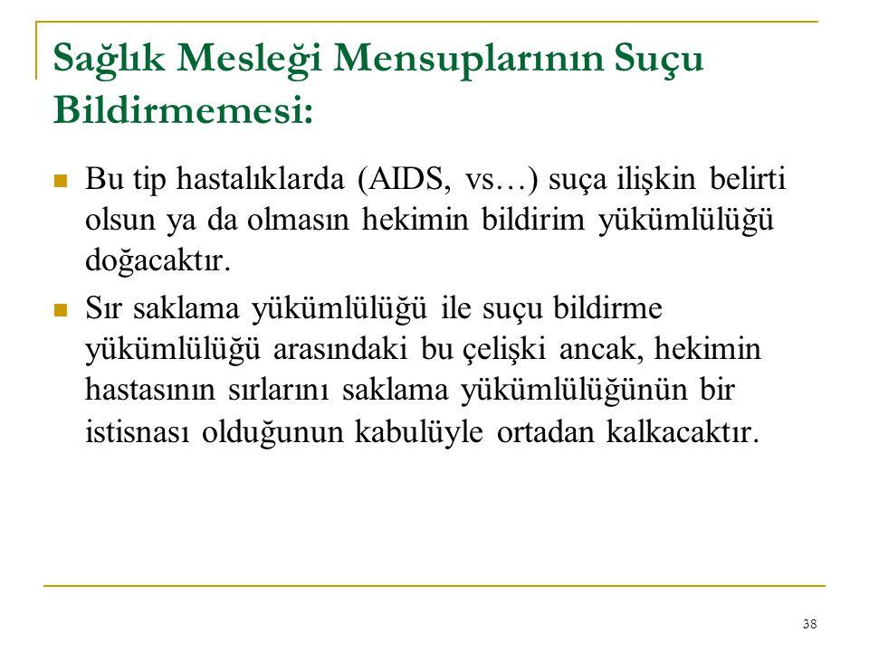 Sağlık Mesleği Mensuplarının Suçu Bildirmemesi: Bu tip hastalıklarda (AIDS, vs…) suça ilişkin belirti olsun ya da olmasın hekimin bildirim yükümlülüğü