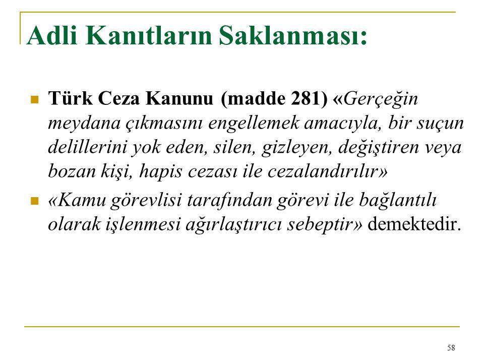 Adli Kanıtların Saklanması: Türk Ceza Kanunu (madde 281) «Gerçeğin meydana çıkmasını engellemek amacıyla, bir suçun delillerini yok eden, silen, gizle