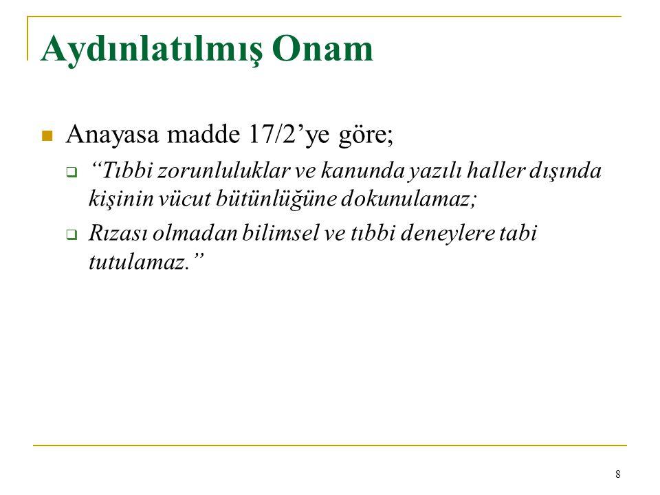 Aydınlatılmış Onam Yargıtay 4.Hukuk Dairesi 6297/2541sy.