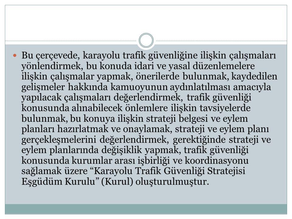Bu çerçevede, karayolu trafik güvenliğine ilişkin çalışmaları yönlendirmek, bu konuda idari ve yasal düzenlemelere ilişkin çalışmalar yapmak, öneriler