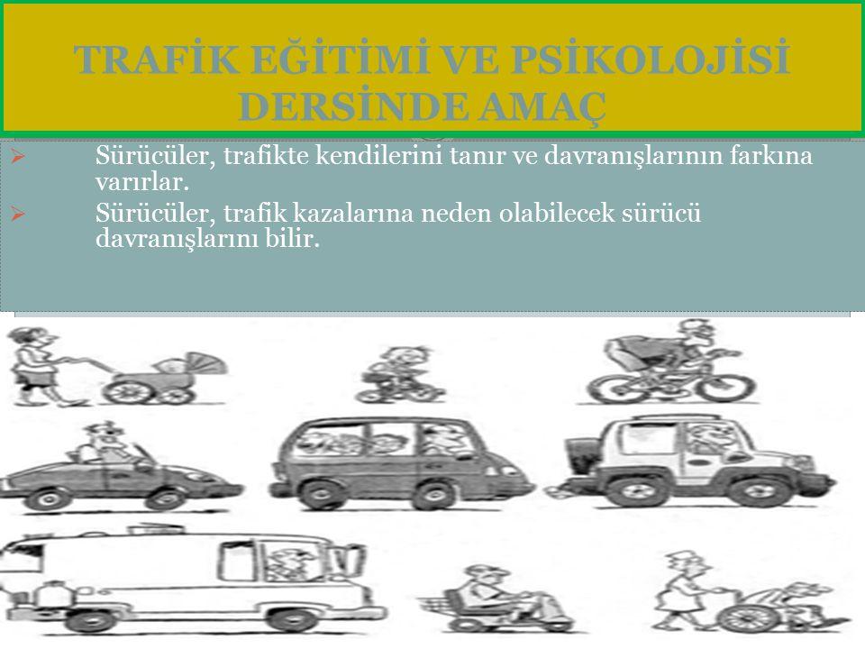 Trafik Psikolojisi Hedefleri Trafik psikologlarının hedeflerine baktığımızda; 1- Güvenli sürücülük davranışının tanımlanması, 2- Trafik kurallarını ihlal etme, kazaya karışma nedenlerinin analizi, 3- Kural ihlal etmeyi alışkanlık haline getirenlerin güvenli sürücüler olarak yeniden kazanılması için verilmesi gereken destek.