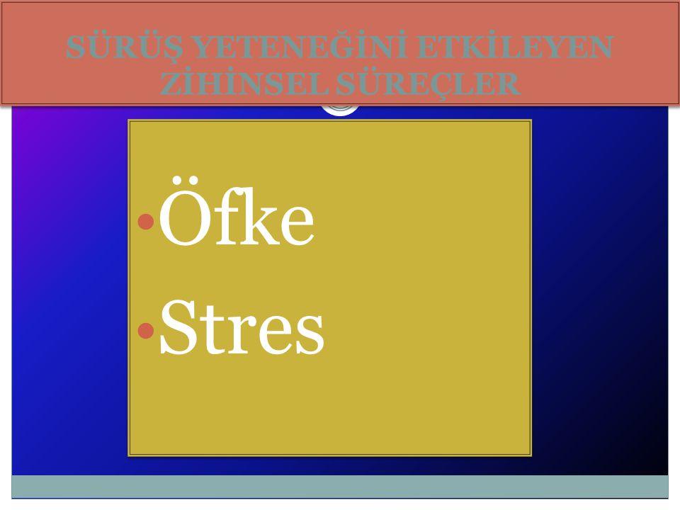 SÜRÜŞ YETENEĞİNİ ETKİLEYEN ZİHİNSEL SÜREÇLER Öfke Stres Öfke Stres
