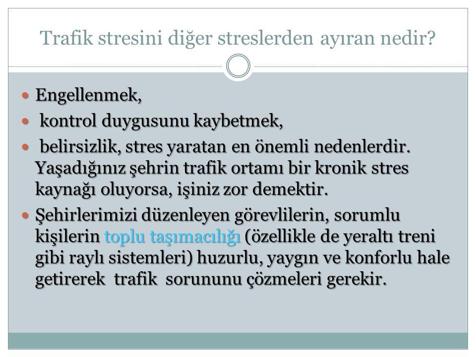 Trafik stresini diğer streslerden ayıran nedir? Engellenmek, Engellenmek, kontrol duygusunu kaybetmek, kontrol duygusunu kaybetmek, belirsizlik, stres