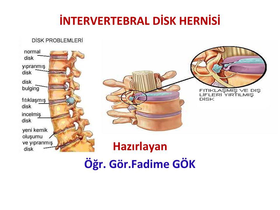 Sırtın alt kısmında, bacağın arkasına yayılan Öksürme, dışkılama, eğilme gibi zorlamalarla artan ağrı Adale spazmı Derin tendom reflekslerinin azalması Etkilenen sinir köklerine yönelik alanlarda hipoestezi LOMBER DİSK HERNİSİNİN BELİRTİ-BULGULAR