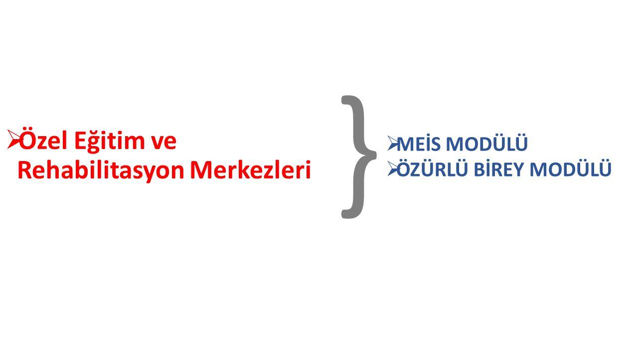  Özel Eğitim ve Rehabilitasyon Merkezleri }  MEİS MODÜLÜ  ÖZÜRLÜ BİREY MODÜLÜ