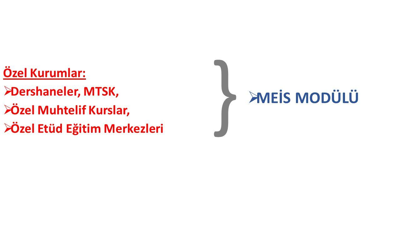 Özel Kurumlar:  Dershaneler, MTSK,  Özel Muhtelif Kurslar,  Özel Etüd Eğitim Merkezleri }  MEİS MODÜLÜ