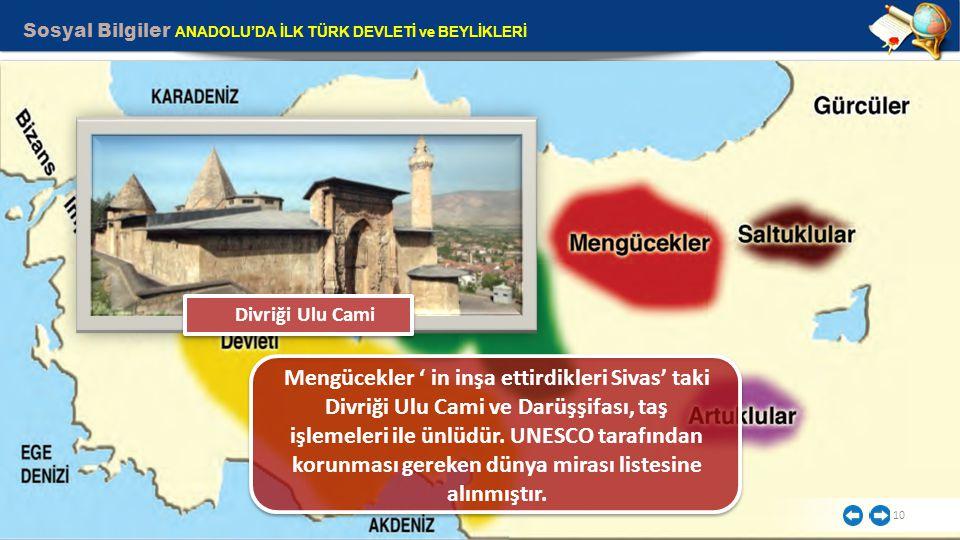 Sosyal Bilgiler ANADOLU'DA İLK TÜRK DEVLETİ ve BEYLİKLERİ 10 Mengücekler ' in inşa ettirdikleri Sivas' taki Divriği Ulu Cami ve Darüşşifası, taş işlem