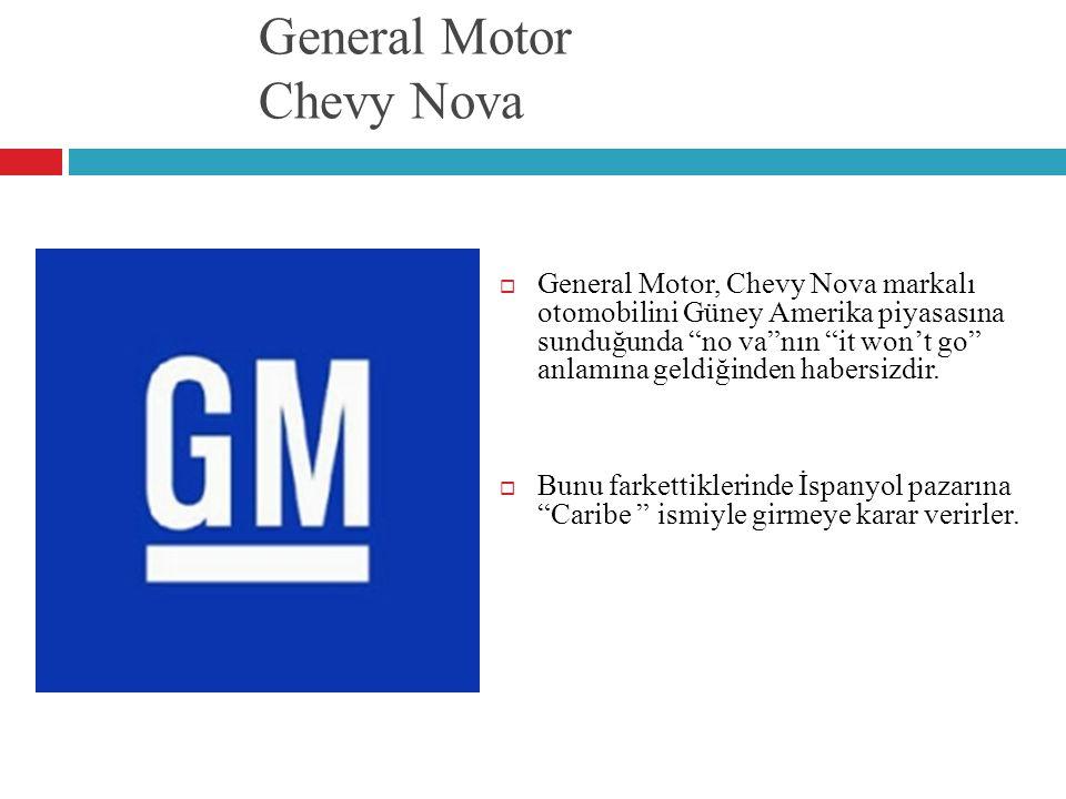 """General Motor Chevy Nova  General Motor, Chevy Nova markalı otomobilini Güney Amerika piyasasına sunduğunda """"no va""""nın """"it won't go"""" anlamına geldiği"""
