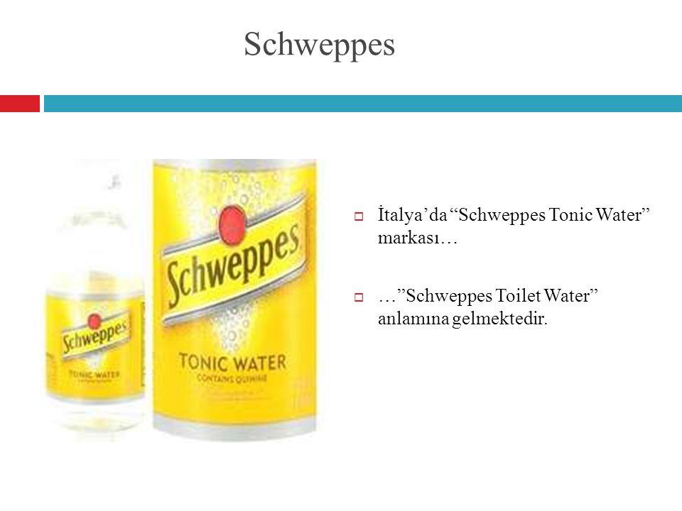 "Schweppes  İtalya'da ""Schweppes Tonic Water"" markası…  …""Schweppes Toilet Water"" anlamına gelmektedir."