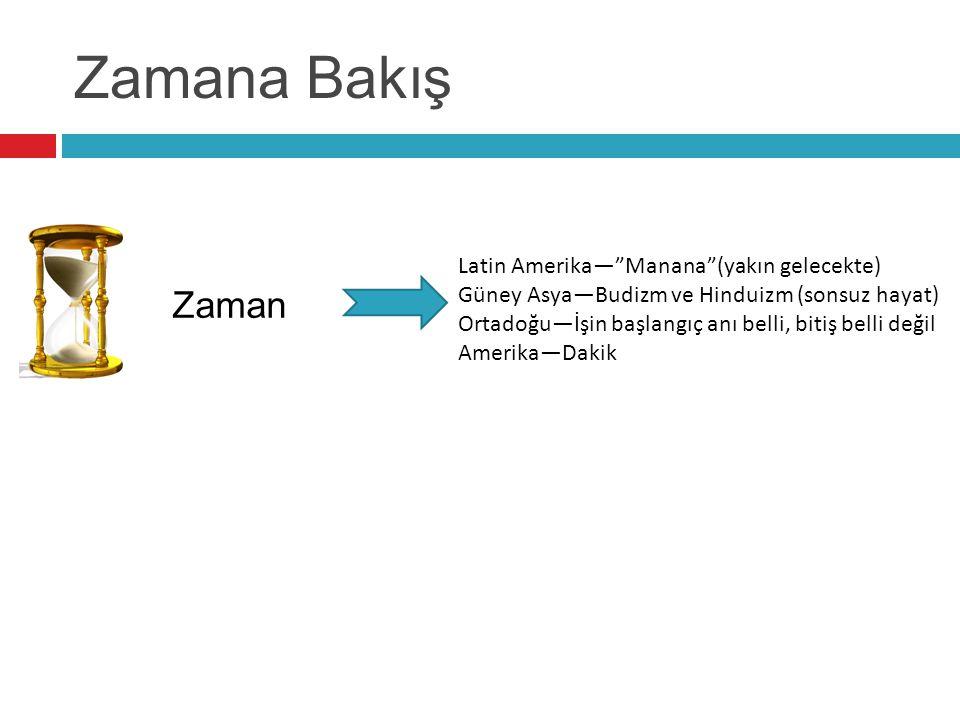 """Zamana Bakış Zaman Latin Amerika—""""Manana""""(yakın gelecekte) Güney Asya—Budizm ve Hinduizm (sonsuz hayat) Ortadoğu—İşin başlangıç anı belli, bitiş belli"""