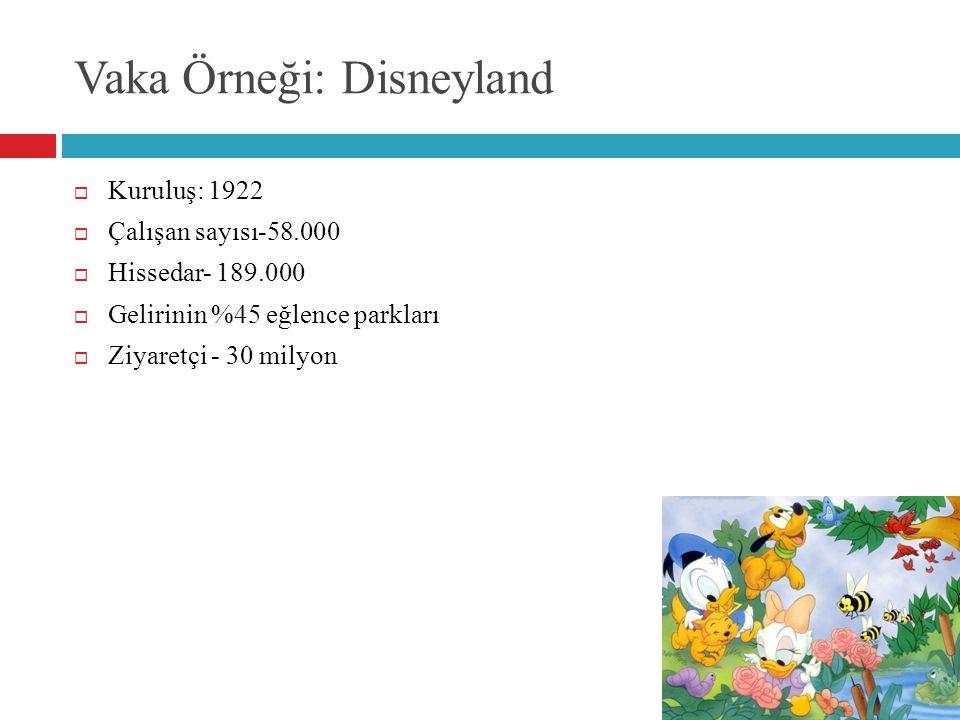 Vaka Örneği: Disneyland  Kuruluş: 1922  Çalışan sayısı-58.000  Hissedar- 189.000  Gelirinin %45 eğlence parkları  Ziyaretçi - 30 milyon