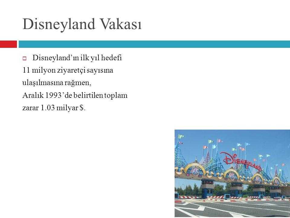 Disneyland Vakası  Disneyland'ın ilk yıl hedefi 11 milyon ziyaretçi sayısına ulaşılmasına rağmen, Aralık 1993'de belirtilen toplam zarar 1.03 milyar