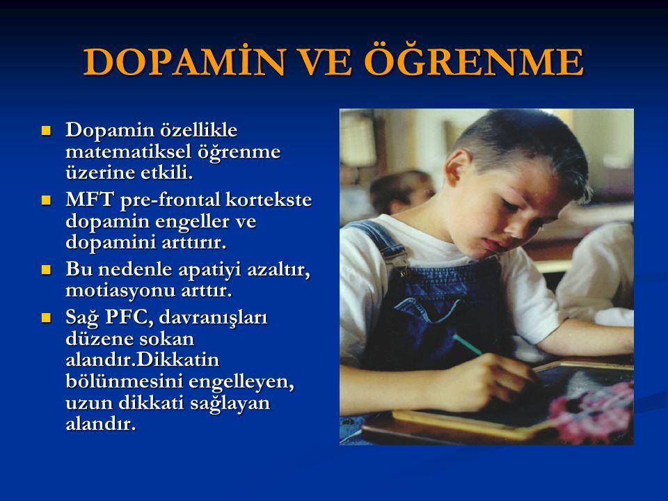 DOPAMİN VE ÖĞRENME Dopamin özellikle matematiksel öğrenme üzerine etkili. Dopamin özellikle matematiksel öğrenme üzerine etkili. MFT pre-frontal korte