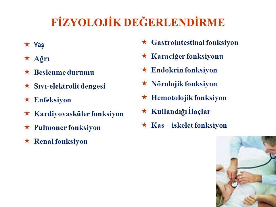 FİZYOLOJİK DEĞERLENDİRME  Yaş  Ağrı  Beslenme durumu  Sıvı-elektrolit dengesi  Enfeksiyon  Kardiyovasküler fonksiyon  Pulmoner fonksiyon  Renal fonksiyon  Gastrointestinal fonksiyon  Karaciğer fonksiyonu  Endokrin fonksiyon  Nörolojik fonksiyon  Hemotolojik fonksiyon  Kullandığı İlaçlar  Kas – iskelet fonksiyon