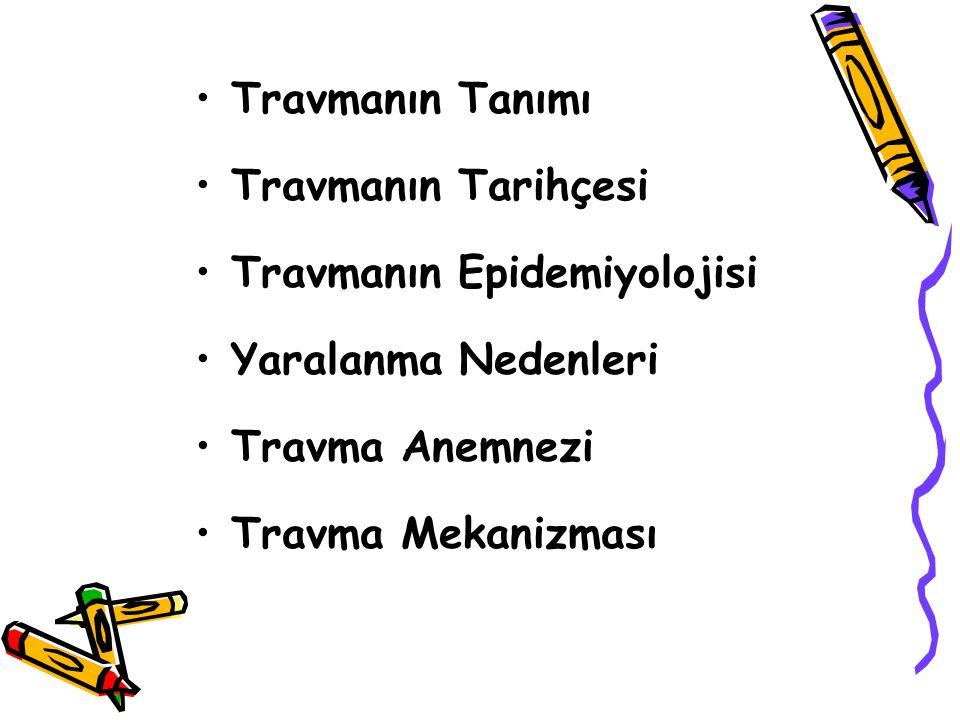 Travmanın Tanımı Travmanın Tarihçesi Travmanın Epidemiyolojisi Yaralanma Nedenleri Travma Anemnezi Travma Mekanizması