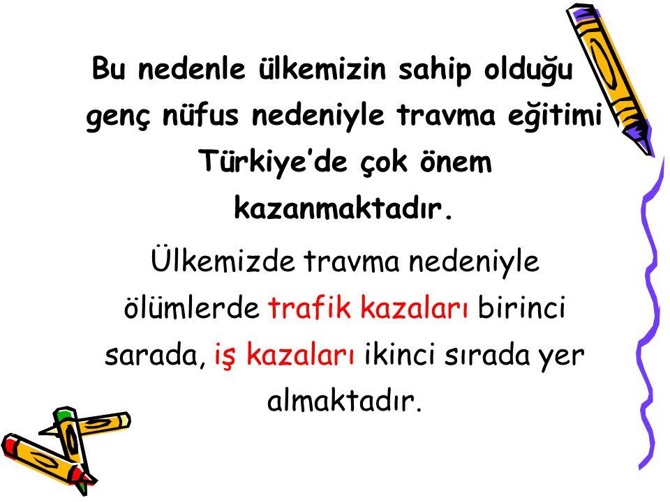 Bu nedenle ülkemizin sahip olduğu genç nüfus nedeniyle travma eğitimi Türkiye'de çok önem kazanmaktadır.