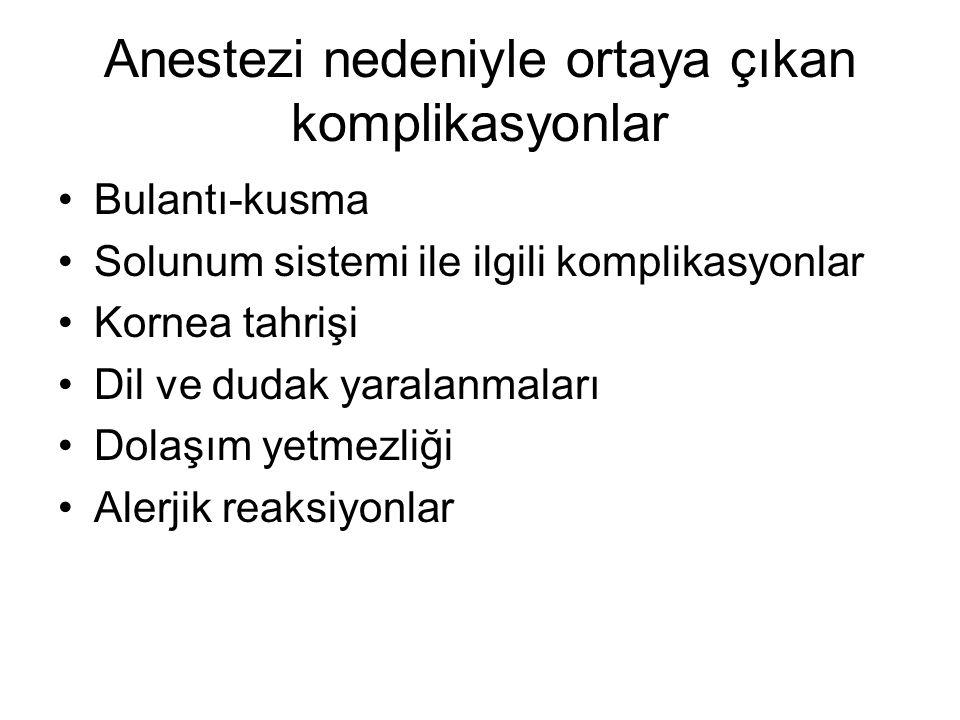 Malign hipertermi (malign hiperpireksi Kardiyak arrest (kalp durması Vasküler komplikasyonlar Trombotik komplikasyonlar Hipotansiyon ve şok