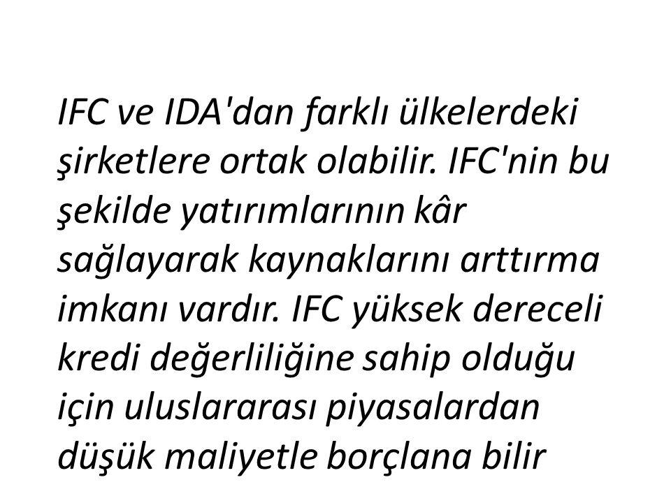 IFC ve IDA'dan farklı ülkelerdeki şirketlere ortak olabilir. IFC'nin bu şekilde yatırımlarının kâr sağlayarak kaynaklarını arttırma imkanı vardır. IFC