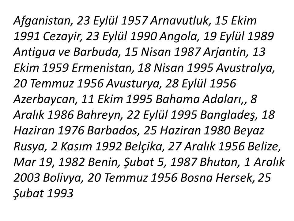 Afganistan, 23 Eylül 1957 Arnavutluk, 15 Ekim 1991 Cezayir, 23 Eylül 1990 Angola, 19 Eylül 1989 Antigua ve Barbuda, 15 Nisan 1987 Arjantin, 13 Ekim 19