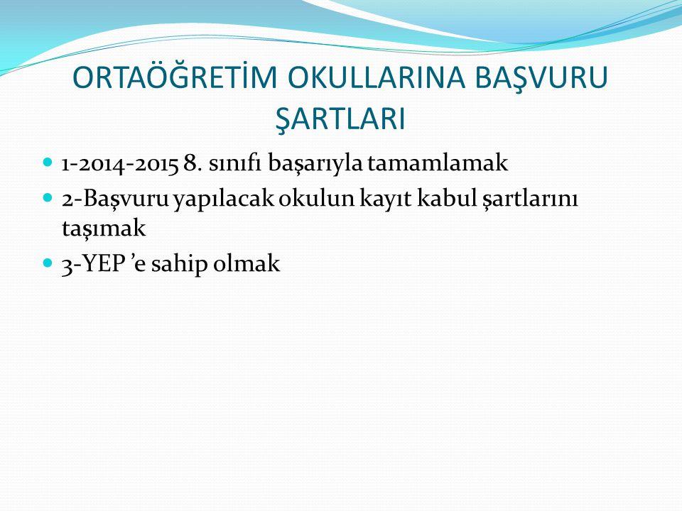 ORTAÖĞRETİM OKULLARINA BAŞVURU ŞARTLARI 1-2014-2015 8. sınıfı başarıyla tamamlamak 2-Başvuru yapılacak okulun kayıt kabul şartlarını taşımak 3-YEP 'e