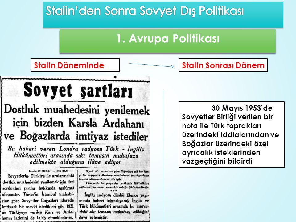 1. Avrupa Politikası 30 Mayıs 1953'de Sovyetler Birliği verilen bir nota ile Türk toprakları üzerindeki iddialarından ve Boğazlar üzerindeki özel ayrı