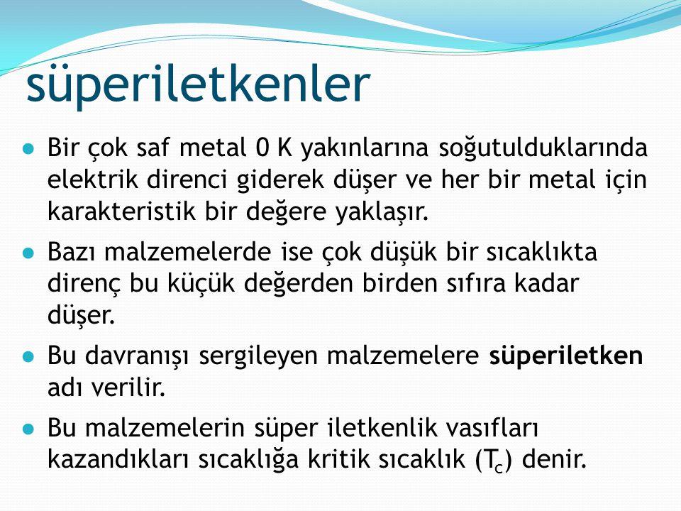 süperiletkenler ●Bir çok saf metal 0 K yakınlarına soğutulduklarında elektrik direnci giderek düşer ve her bir metal için karakteristik bir değere yak