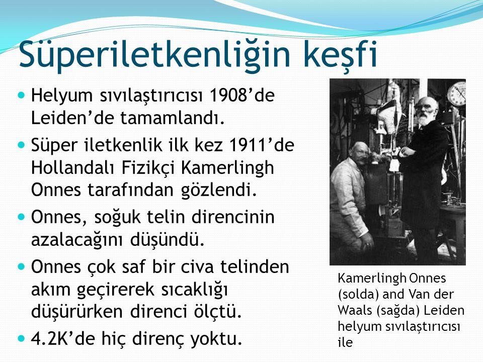 Helyum sıvılaştırıcısı 1908'de Leiden'de tamamlandı. Süper iletkenlik ilk kez 1911'de Hollandalı Fizikçi Kamerlingh Onnes tarafından gözlendi. Onnes,