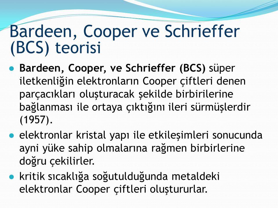 ●Bardeen, Cooper, ve Schrieffer (BCS) süper iletkenliğin elektronların Cooper çiftleri denen parçacıkları oluşturacak şekilde birbirilerine bağlanması