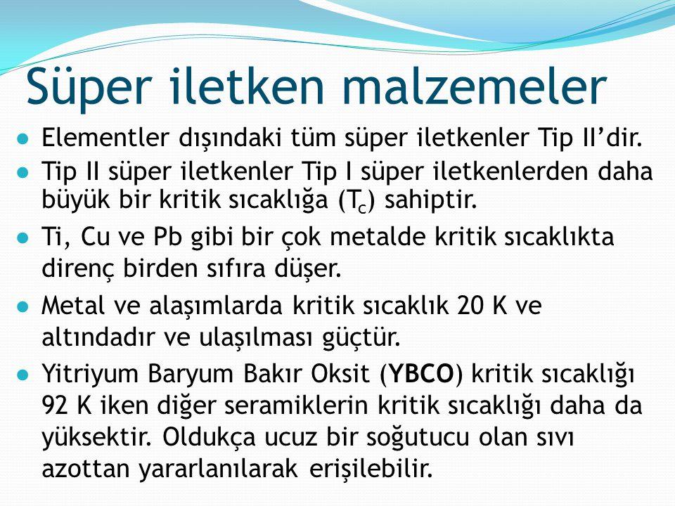 Süper iletken malzemeler ●Elementler dışındaki tüm süper iletkenler Tip II'dir. ●Tip II süper iletkenler Tip I süper iletkenlerden daha büyük bir krit