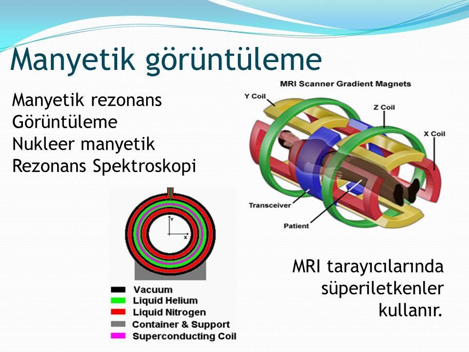 Manyetik rezonans Görüntüleme Nukleer manyetik Rezonans Spektroskopi MRI tarayıcılarında süperiletkenler kullanır. Manyetik görüntüleme