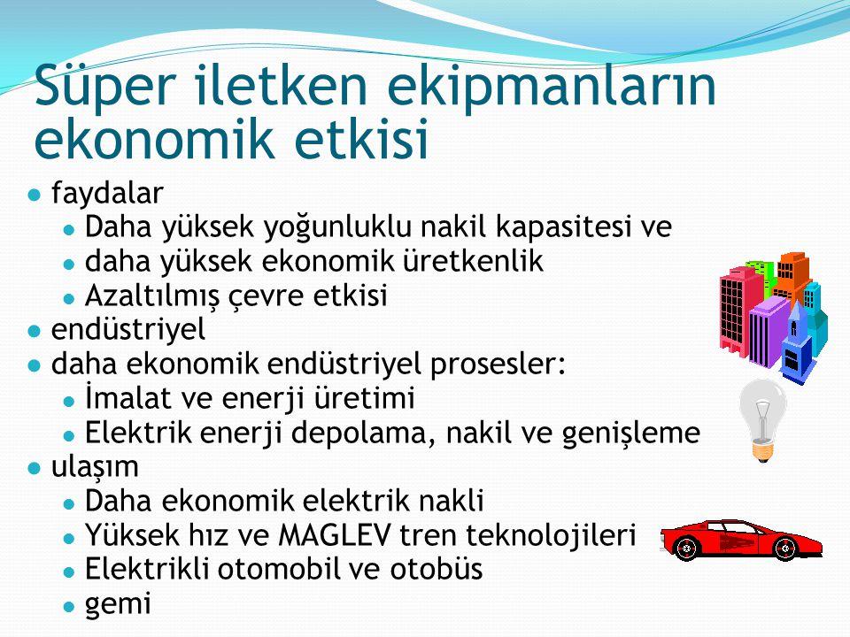 Süper iletken ekipmanların ekonomik etkisi ● faydalar ● Daha yüksek yoğunluklu nakil kapasitesi ve ● daha yüksek ekonomik üretkenlik ● Azaltılmış çevr