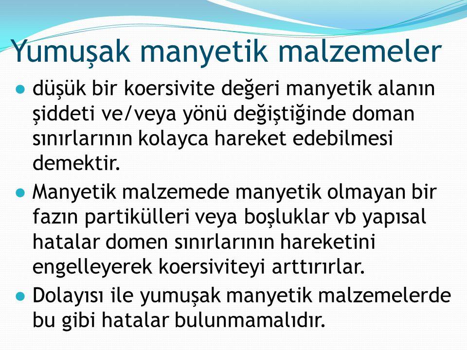 ●düşük bir koersivite değeri manyetik alanın şiddeti ve/veya yönü değiştiğinde doman sınırlarının kolayca hareket edebilmesi demektir. ●Manyetik malze