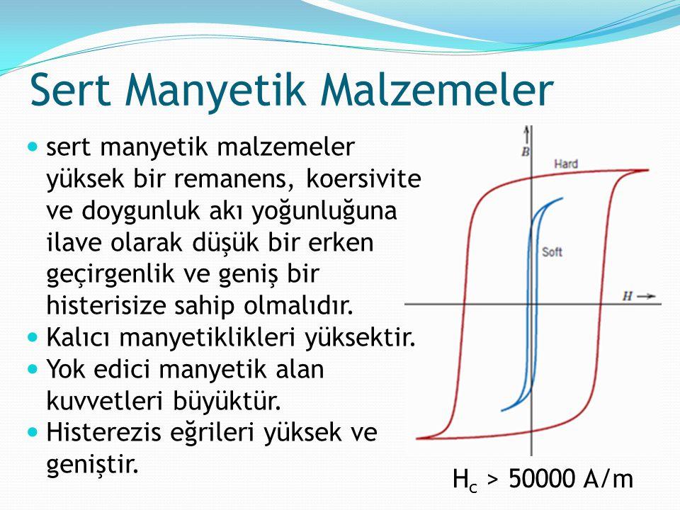 Sert Manyetik Malzemeler H c > 50000 A/m sert manyetik malzemeler yüksek bir remanens, koersivite ve doygunluk akı yoğunluğuna ilave olarak düşük bir