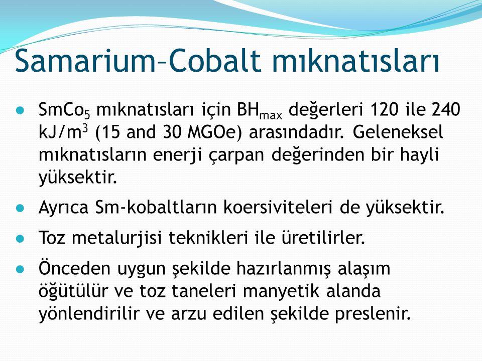 ●SmCo 5 mıknatısları için BH max değerleri 120 ile 240 kJ/m 3 (15 and 30 MGOe) arasındadır. Geleneksel mıknatısların enerji çarpan değerinden bir hayl