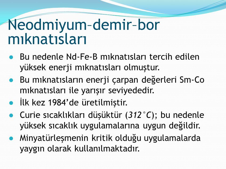 ●Bu nedenle Nd-Fe-B mıknatısları tercih edilen yüksek enerji mıknatısları olmuştur. ●Bu mıknatısların enerji çarpan değerleri Sm-Co mıknatısları ile y