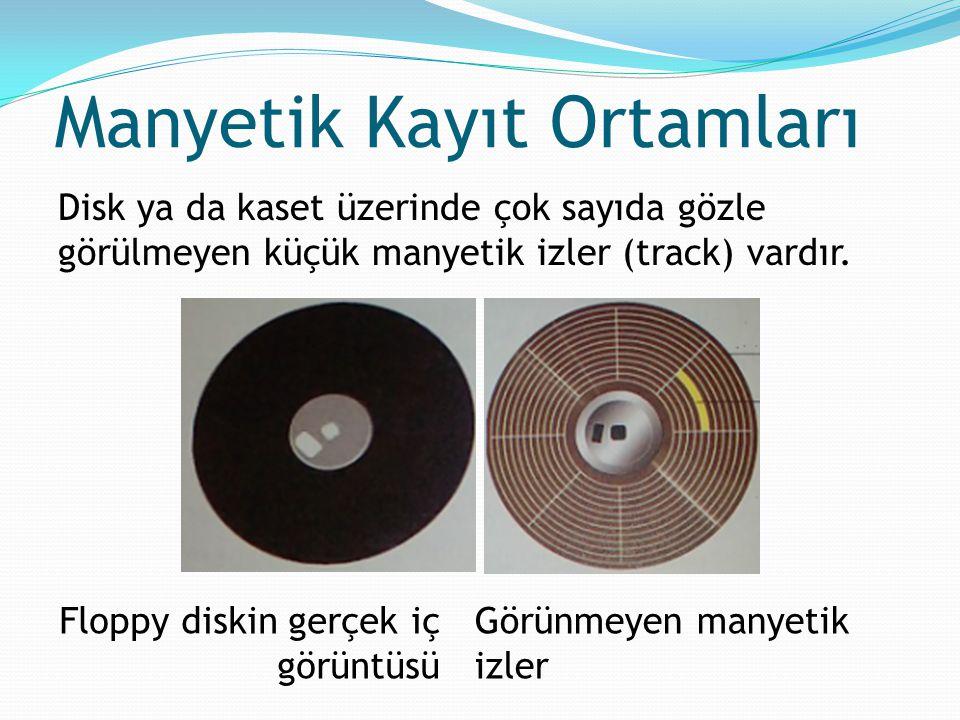 Manyetik Kayıt Ortamları Disk ya da kaset üzerinde çok sayıda gözle görülmeyen küçük manyetik izler (track) vardır. Floppy diskin gerçek iç görüntüsü