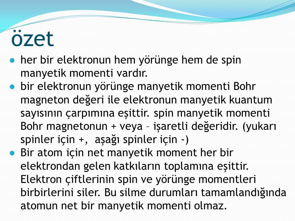 özet ●her bir elektronun hem yörünge hem de spin manyetik momenti vardır. ●bir elektronun yörünge manyetik momenti Bohr magneton değeri ile elektronun