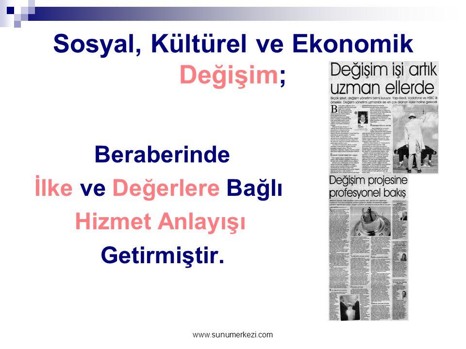 www.sunumerkezi.com Sosyal, Kültürel ve Ekonomik Değişim; Beraberinde İlke ve Değerlere Bağlı Hizmet Anlayışı Getirmiştir.