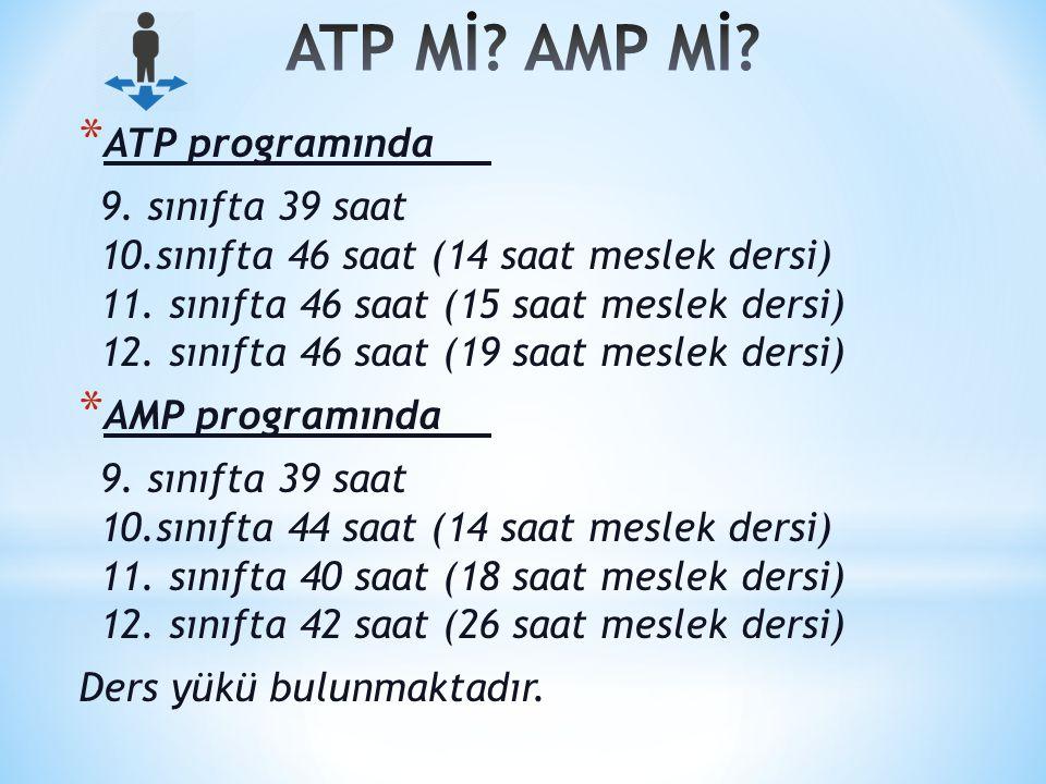 * ATP programında 9.sınıfta 39 saat 10.sınıfta 46 saat (14 saat meslek dersi) 11.