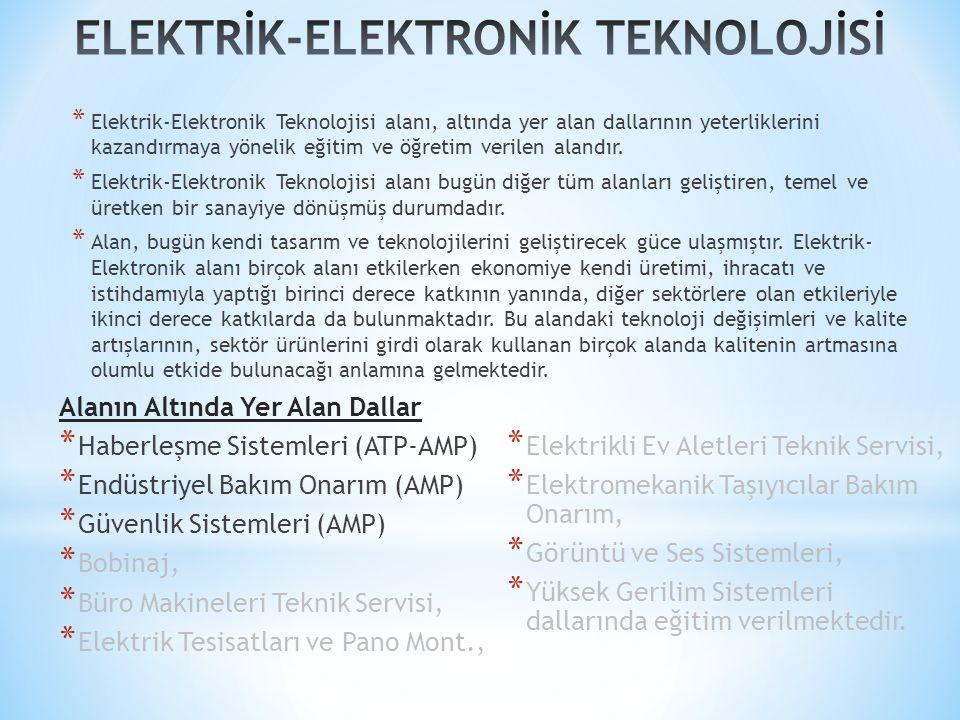 * Elektrik-Elektronik Teknolojisi alanı, altında yer alan dallarının yeterliklerini kazandırmaya yönelik eğitim ve öğretim verilen alandır.
