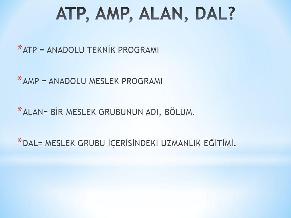 * ATP = ANADOLU TEKNİK PROGRAMI * AMP = ANADOLU MESLEK PROGRAMI * ALAN= BİR MESLEK GRUBUNUN ADI, BÖLÜM.