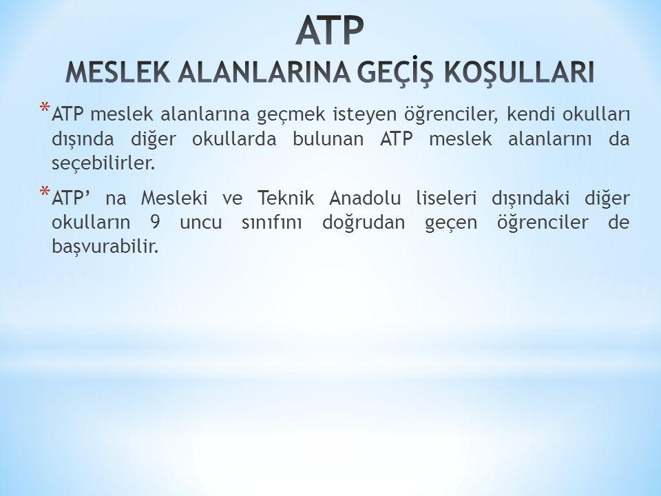 * ATP meslek alanlarına geçmek isteyen öğrenciler, kendi okulları dışında diğer okullarda bulunan ATP meslek alanlarını da seçebilirler.