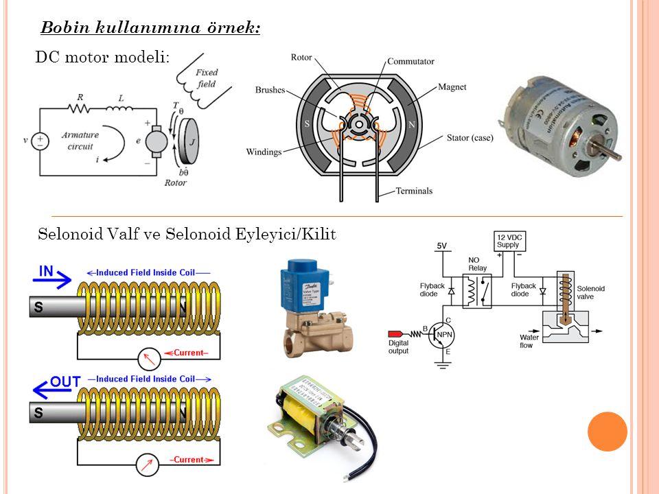 DC motor modeli: Bobin kullanımına örnek: Selonoid Valf ve Selonoid Eyleyici/Kilit