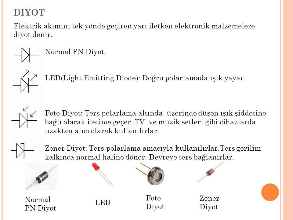 DIYOT Elektrik akımını tek yönde geçiren yarı iletken elektronik malzemelere diyot denir. Normal PN Diyot. LED(Light Emitting Diode): Doğru polarlamad