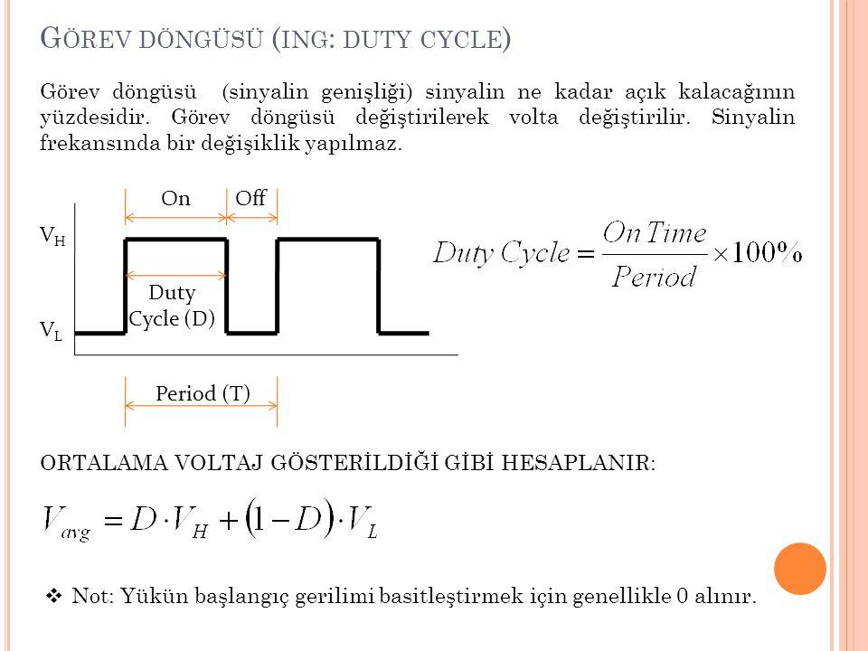 G ÖREV DÖNGÜSÜ ( ING : DUTY CYCLE ) Görev döngüsü (sinyalin genişliği) sinyalin ne kadar açık kalacağının yüzdesidir. Görev döngüsü değiştirilerek vol