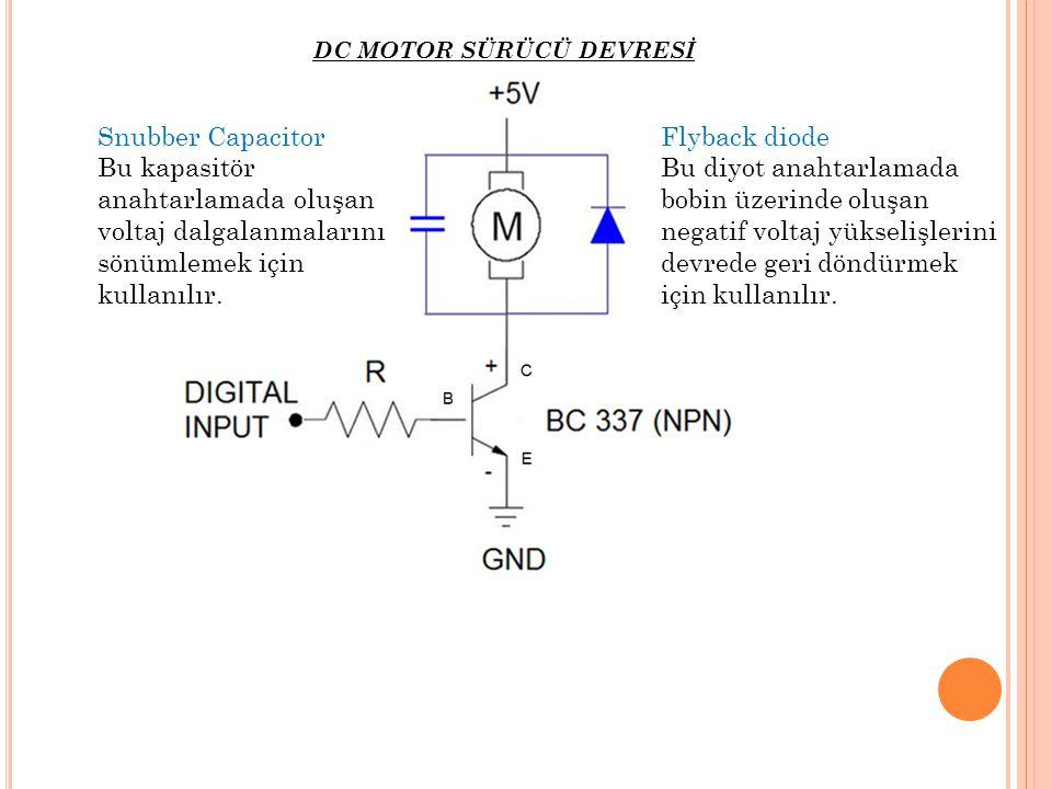 DC MOTOR SÜRÜCÜ DEVRESİ Snubber Capacitor Bu kapasitör anahtarlamada oluşan voltaj dalgalanmalarını sönümlemek için kullanılır. Flyback diode Bu diyot