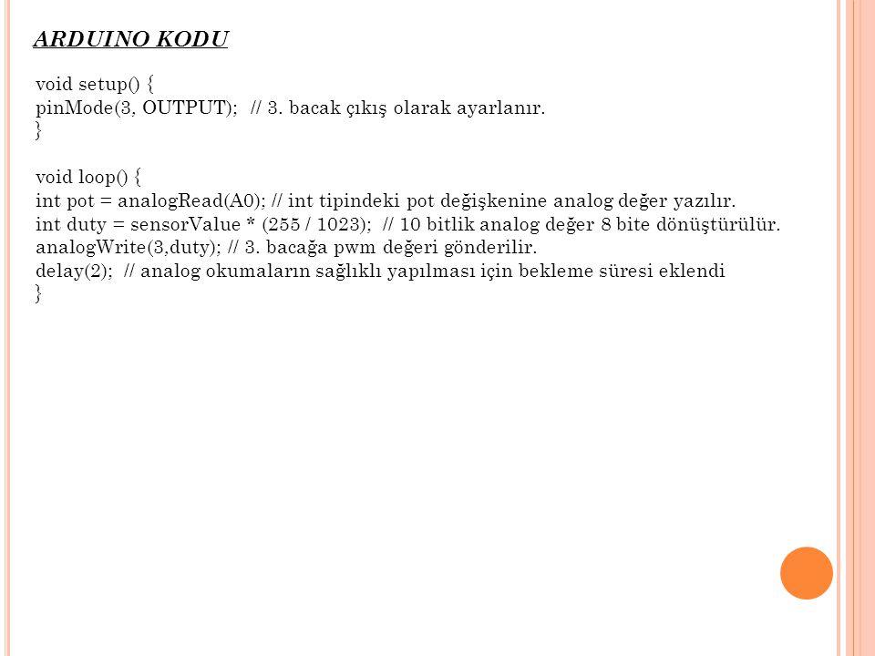 ARDUINO KODU void setup() { pinMode(3, OUTPUT); // 3. bacak çıkış olarak ayarlanır. } void loop() { int pot = analogRead(A0); // int tipindeki pot değ